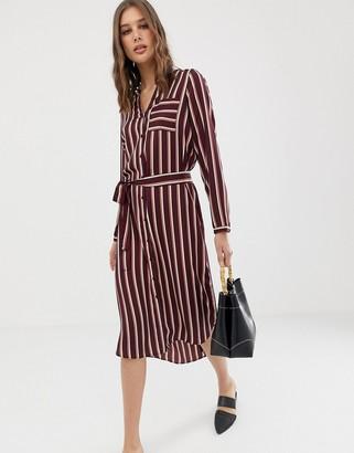 Vero Moda stripe midi shirt dress