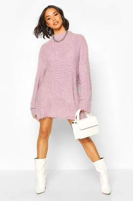 boohoo Oversized Premium Boucle Feather Knit Dress