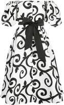 Rodarte off-shouder abstract midi dress