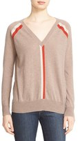 Autumn Cashmere Stripe V-Neck Cashmere Sweater