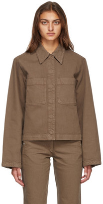 Lemaire Brown Garment-Dyed Denim Jacket