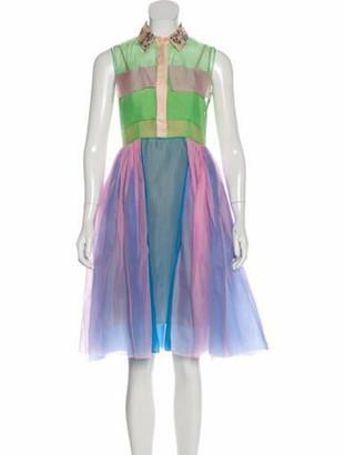 DELPOZO Silk Colorblock Dress Pink