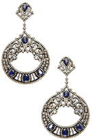 Silver, Blue Sapphire & 3.65 Total Ct. Diamond Drop Earrings