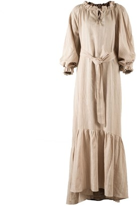 Nary Song Saa Maxi Cream & White Stripes Linen Lounge Dress
