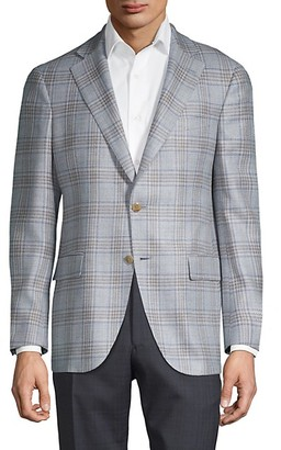 Lubiam Standard-Fit Wool-Blend Plaid Jacket