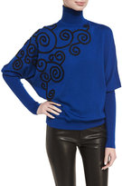 Andrew Gn Swirl-Embroidered Batwing Turtleneck Sweater