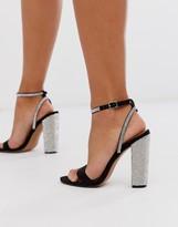 Asos Design DESIGN Hot Step embellished block heeled sandals in black
