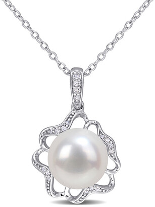 Rina Limor Fine Jewelry Silver 0.06 Ct. Tw. Diamond 9.5-10Mm Pearl Floral Pendant Necklace