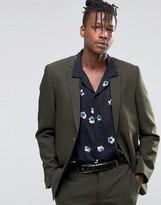 Asos Slim Suit Jacket In Khaki