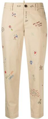 DSQUARED2 Hockney doodle print jeans