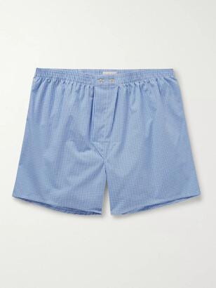 Derek Rose Gingham Cotton Boxer Shorts - Men - Blue
