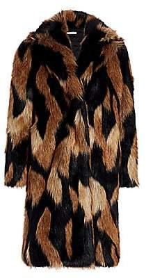 Alice + Olivia Women's Foster Faux Fur Full Length Coat