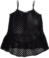 Milly Minis Smocked Netted Swim Coverup, Black, Size 8-14