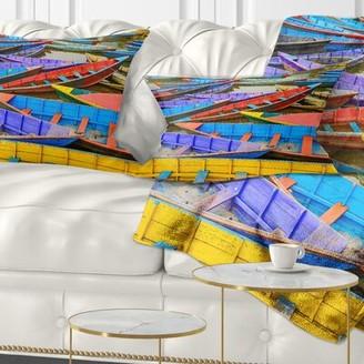 Old Colorful Sailboats in Lake Lumbar Pillow East Urban Home