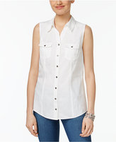 Style&Co. Style & Co Sleeveless Denim Shirt, Created for Macy's