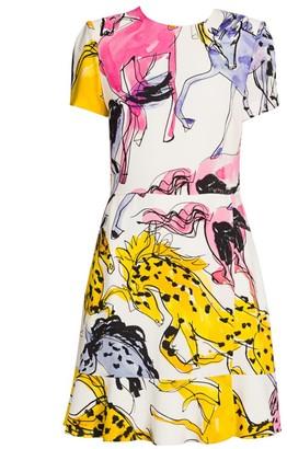 Stella McCartney Horse-Print Ruffle Dress