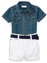 Ralph Lauren Childrenswear Two-Piece Denim Shirt, Shorts, and Belt Set