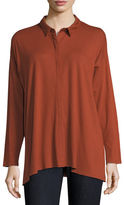 Eileen Fisher Lightweight Viscose Jersey Boxy Button-Front Top