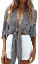 WLLW Women Half Sleeve Deep V Neck Front Tie Striped Shirt Tops Blouse Kimono