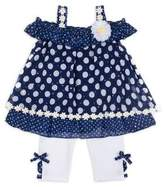 Little Lass Little Girl's Two Piece Polka-Dot Top and Pant Set