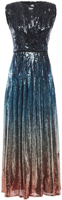Mary Katrantzou Sienna Pleated Degrade Stretch-tulle Midi Dress