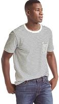 Mix-stripe pocket crewneck tee