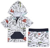 Andy & Evan Boys' Fish Print Hooded Tee & Shorts Set - Baby