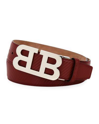 Bally Mirror B Carbon Leather Belt