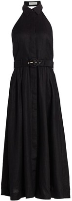 Zimmermann Bonita Halterneck Linen Midi Dress