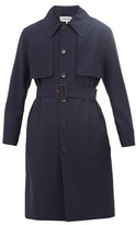 Loewe Wool Belted Trench Coat - Mens - Navy