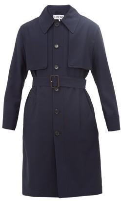 Loewe Wool Belted Trench Coat - Mens - Navy