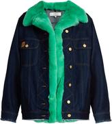 Natasha Zinko Oversized fur-trim denim jacket