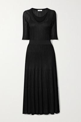 CASASOLA Ribbed-knit Midi Dress - Black