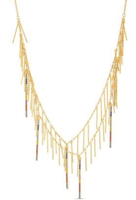 Steve Madden Rod Bar Tassel Rhinestone Rainbow Spark Necklace