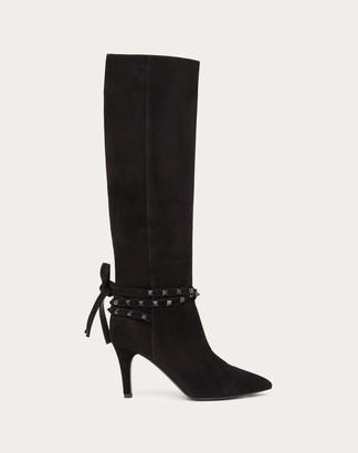 Valentino Rockstud Flair Suede Boot 85 Mm Women Black Lambskin 100% 37