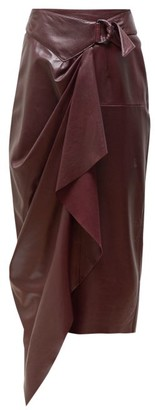 Isabel Marant Fiova Belted Draped Leather Skirt - Womens - Burgundy