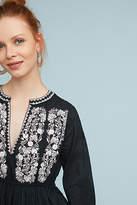 Ne Quittez Pas Embroidered Tie-Waist Dress