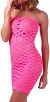 Rokou Women's Hollow Out Fishnet Mini Dress Bodysuit Lingerie Babydoll