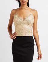 Charlotte Russe Embroidered Mesh Crop Top