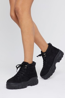 Nasty Gal Womens Can I Get a Boot Boot Chunky Sneakers - Black
