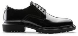HUGO BOSS Polished Leather Derby Shoes With Eva Lug Sole - Black