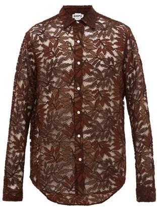 Hope Air Clean Guipure-lace Shirt - Mens - Brown