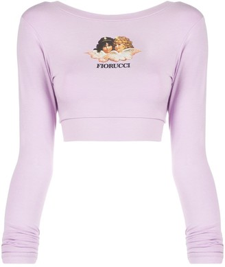 Fiorucci Angel Print Crop Top