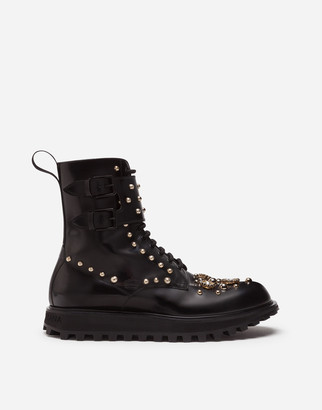 Dolce & Gabbana Calfskin Boots With Embroidery And Extra Lightweight Bottom