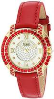 Burgi Women's BUR156RD Yellow Gold Quartz Watch With Diamond Mother of Pearl Swarovski Crystal Accented Dial & Bezel With Red Leather Strap