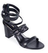 Roberto Cavalli Multi Strap Woven Plaited Black Heeled Sandals.