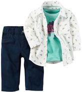 "Carter's Baby Boy Handsome Like Daddy"" Dinosaur Shirt, Tee & Jeans Set"