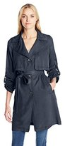 7 For All Mankind Women's Soft Drape Sand Washed Tencel Single Breasted Trench