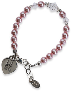 Bed Bath & Beyond Cherished Moments Lil Sis Pink Sterling Silver Bracelet - Small