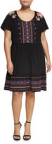Johnny Was Embroidered Jersey Dress, Black, Plus Size